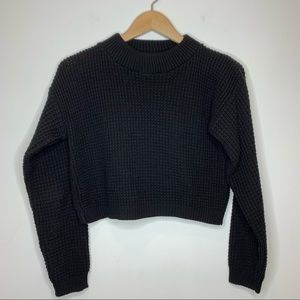 Boohoo Cropped Textured Knit Black Sweater